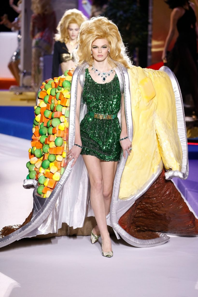 f82ee694615 Moschino Just Sent Clothes Inspired By TV Dinners Down The Runway. Jeremy  Scott's runway shows ...